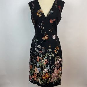 NWT Zara Black Floral Fitted Midi Dress size Large
